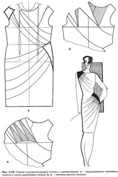 modelagem de vestido com drapeados no colo e cintura. [Pattern of a dress with added draping at the shoulder and hip. Techniques Couture, Sewing Techniques, Diy Clothing, Sewing Clothes, Dress Sewing Patterns, Clothing Patterns, Pattern Dress, Fashion Sewing, Diy Fashion