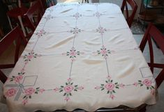 Beautiful Pink Roses Linen Vintage Tablecloth Hand by FelicesFinds