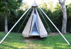 Apparently, this can also be made from an old trampoline bed and set up as a teepee