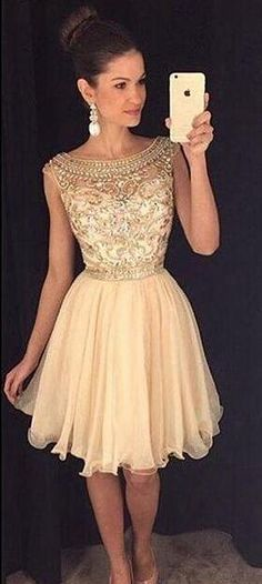 Sabrina Neckline Homecoming Dress,Short Prom Dress,Sexy Beaded Champagne