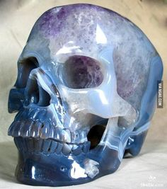 Super realistic carved crystal skull made from agate geode