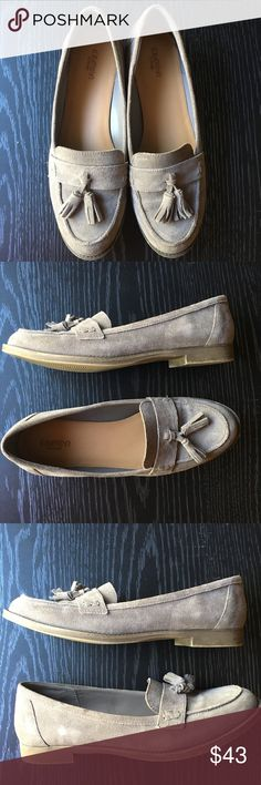 Crown Vintage Moira Suede Tassel Loafers Crown Vintage grey suede round toe tassel loafers. Worn few times, excellent used condition ( see photos) .  Genuine leather upper, man made materials inside. Style: Moira. Heel height approximately: 3/4 inch. Reasonable offers welcome.  Smoke free and pet free home. Crown Vintage Shoes Flats & Loafers