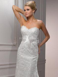 Verschönert Spitze Satin a-line modernes Brautkleid mit Perlen Cap-Ärmeln $370.28 Hochzeitskleider