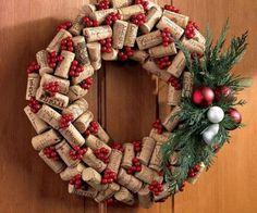 DIY wine corks wreath Christmas craft projects front door