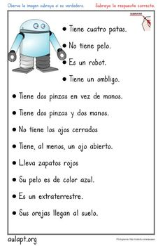 Damos un saltito en nuestra cartilla de lectura y pasamos a la comprensión de frases, pensado para alumnos más avanzados en la cartilla. En esta Spanish Worksheets, Spanish Teaching Resources, Spanish Activities, Spanish Language Learning, Reading Activities, Worksheets For Kids, Teacher Resources, Spanish Teacher, Spanish Classroom