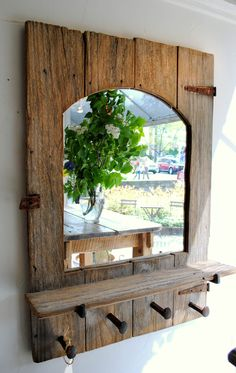 Old Barn Shutter with Mirror and Hooks
