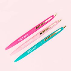 Boss Lady Pen Set, Motivational Pen, Gift for Her, Gift for Boss, Boss Lady, Girl Boss, Pen Set, Inspirational Pens, Ink, Desk Accessories by sweetwaterdecor