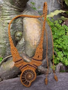 Necklace Pendant Ammonite Fossil Stone Gemstone Macrame Handmade Handcrafted | eBay