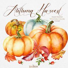Pumpkin watercolor clipart, Halloween, Autumn, Briar, Yellow Leaves, digital…