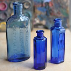 Blue Medicine Apothecary Bottles - Set of Three