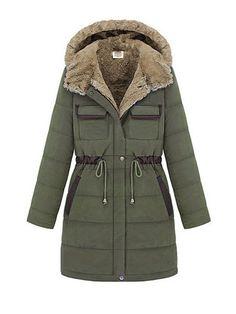 Long Tight Waist Fur Hoodied Long Sleeve Warm Padded Coat