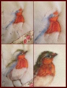 this link doesn't work, but the picture is just beautiful! Wool Needle Felting, Needle Felting Tutorials, Wet Felting, Robin Pictures, Felt Pictures, Felt Wall Hanging, Felt Crafts Patterns, Textile Sculpture, Felted Wool Crafts