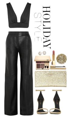 """""""Holiday Style: Leather Pants"""" by whitecoconutgirl ❤ liked on Polyvore featuring ADAM, Topshop, Yves Saint Laurent, Kate Spade, Blue Nile, Dolce&Gabbana, Smith & Cult and Clarins"""