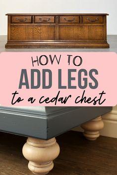 Cedar Chest Redo, Painted Cedar Chest, Wood Chest, Furniture Legs, Furniture Makeover, Cool Furniture, Furniture Refinishing, Refurbished Furniture, Painted Furniture