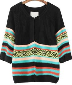 Black Long Sleeve Striped Knit Cardigan - Sheinside.com