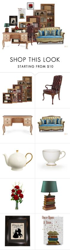 """""""The bookworm and the beast"""" by rebecaete on Polyvore featuring interior, interiors, interior design, casa, home decor, interior decorating, Nearly Natural, Disney, disney e disneyhome"""