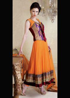 Wedding Wear Deep Orange Anarkali Salwar Dress . Shop at -http://gravity-fashion.com/16422-wedding-wear-deep-orange-anarkali-salwar-dress.html