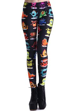 Small Colorful Monster Print Leggings