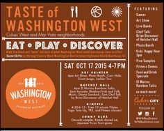"""Such exciting things coming in October!!! @wwbusdistrict is hosting its first """"#community event"""" Saturday October 17th! #Eat. #play. #discover! #CulverCity @artprinterla @chocovivo_la @coldandthirstyla @fruitgallery @gravlax.la @humblepotato @rockenwagnerbakeries @samosahouse @studio_elevate_la @tangaroafishmkt @thedetourbistrobar @the.wood @wheelhousecheese"""