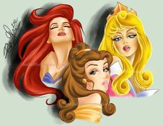 Ariel, Belle and Aurora. Disney princess.  creative. art. beautiful. Fashion. #ForeverEileen