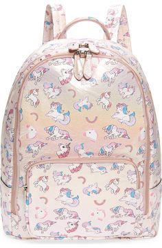 """Shimmer Backpack 16/""""  All Print Canvas NWT 100/% Original Shimmer And Shine Girls"""