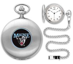 New - Mens Maine Black Bears-Pocket Watch - Silver
