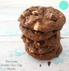 I'm going to start this post with a warning, these Thermomix Double Choc Chip Biscuits are quite possibly the BEST chocolate chip biscuits you will ever try – seriously! Chocolate Chip Biscuits, Triple Chocolate Chip Cookies, Best Chocolate, Fudge, Mulberry Recipes, Brownies, Cookie Recipes, Dessert Recipes, Baking Recipes