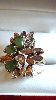 Size 6 Cluster Jade Vintage Ring French Repousse by LuisBlindFinds, $48.00