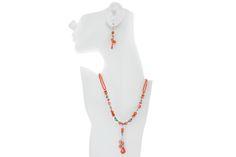 #Orange #Coral #Pepietto #Set  #Necklace Code : MS04597 Price  495 LE #Earrings Code : MS04598 , Price - 195 LE