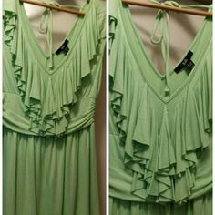 Mint Green Blouse Lovely Rain 95% viscous 5% Spandex V Neck & Back! Sleeveless NEW NEVER BEEN WORN Purchased @ Boutique Rain Tops Blouses