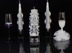 Unity candle Unity Candle set Wedding ceremony by MonnaCandles