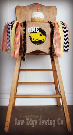 CONSTRUCTION Birthday Age High Chair Highchair by RawEdgeSewingCo