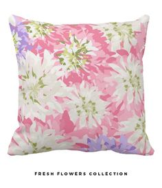 Very pretty pink, white and mauve floral cushion.  Enhance your indoor or outdoor living spaces with this gorgeous throw pillow. If you like shabby chic and feminine things you will love thIs. Other products available in this pattern from my zazzle store. #giftsforher
