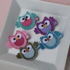 So cute! Owl felt hair clips.