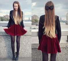 Velvet Skirt, Jacket, Hairbow