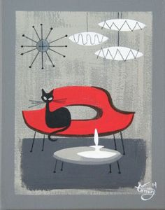 Cats -> arts(cats are art itself. Mid Century Modern Decor, Mid Century Art, Mid Century Style, Mid Century Design, Knoll Chairs, Arm Chairs, Upholstered Chairs, Dining Chairs, Black Cat Art