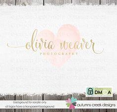 Photographie, Logo - logo or - Premade Logo - Logo texte logo de photographe - Logo coeur - coeur Logo - Design de filigrane - photographe
