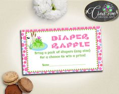 Green And Pink Baby Prince Charming Bring Diapers Ticket Printable DIAPER RAFFLE, Instant Download, Shower Celebration - bsf01 #babyshowergames #babyshower