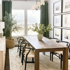 Dining Table In Kitchen, Green Dining Room, Small Dining Rooms, Dining Room Modern, Narrow Dining Room Table, Solid Wood Dining Table, 8 Seater Dining Table, Minimalist Dining Room, Casual Dining Rooms