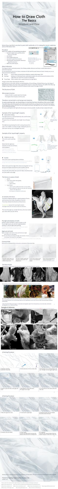 A very good Cloth tutorial.    How to Draw Cloth - The Basics by ~JaneMere on deviantART  http://janemere.deviantart.com/art/How-to-Draw-Cloth-The-Basics-213019261#