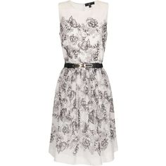 Little Mistress Grey and White Floral Dress ($78) ❤ liked on Polyvore