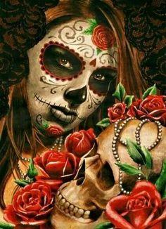 day of the dead woman w flowers skull Nail Art Decorations Health & Beauty Day Of The Dead Woman, Day Of The Dead Skull, Sugar Skull Girl, Sugar Skull Makeup, Sugar Skulls, Girl Skull, Sugar Skull Tattoos, Tribal Tattoos, Tatoos