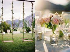 En columpios, en centros de  mesa, todo es decorado con flores ...