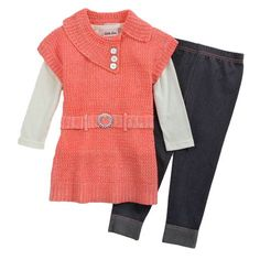 Little Lass Toddler Girl 3pc Sweater Set: Shopko J'aime le haut et je le ferais plus long pour faire une robe...