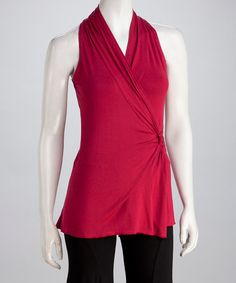 Take a look at this Wine Opal Faux Wrap Top by Luna Claire on #zulily today!
