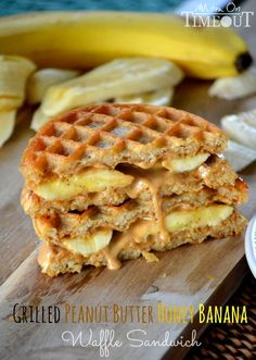 Grilled Peanut Butter Honey Banana Waffle Sandwich #cookbook #foodonfleek