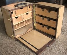 Portable wood fly tying desk. What a beautiful way to stay organized.
