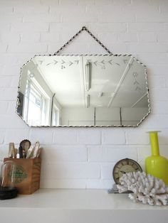 Vintage Large Art Deco Bevelled Edge Wall Mirror with by uulipolli