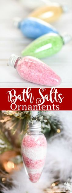 Peppermint Bath Salts DIY Bath Salts Ornaments – these peppermint scented bath salts in Christmas light ornaments make a great … Diy Gifts For Christmas, Dollar Store Christmas, Diy Christmas Ornaments, How To Make Ornaments, Christmas Lights, Family Christmas, Christmas Decor, Christmas Bath Bombs, Dollar Store Gifts