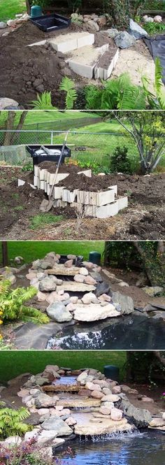 Pin it here : pinterest.com Make a, rock-lined stream with multiple waterfalls in your backyard. Use gravel and stone filters and a...
